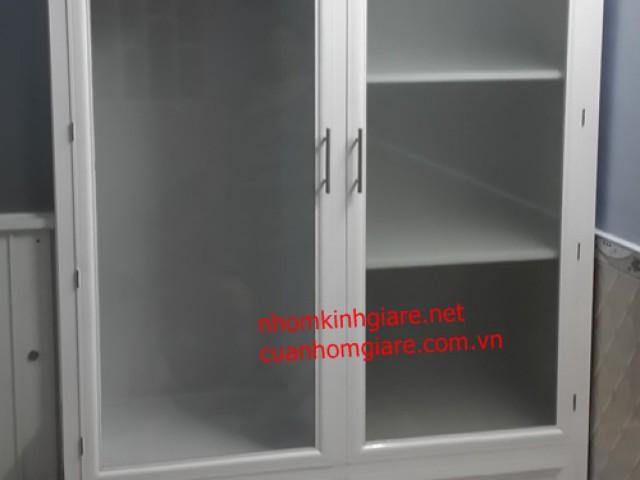Tủ quần áo nhôm kính TpHCM mẫu alu sơn tĩnh điện giả gỗ ĐẸP
