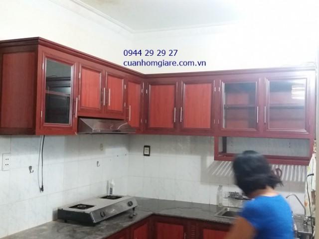 Tủ Bếp Nhôm Vân Gỗ Đẹp