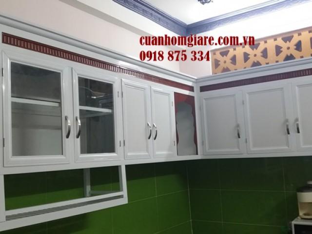 Tủ Bếp Nhôm Kính chữ L TpHCM thiết kế cải tiến đẹp (ĐỘC ĐÁO)